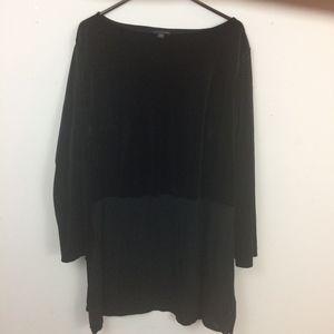 J. Jill 3X Black Velvet Top Long Sleeve Tunic